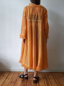 SHEER ORGANZA ROBE | ruffle | S/M/ L:[Past out]:[vintage clothes]
