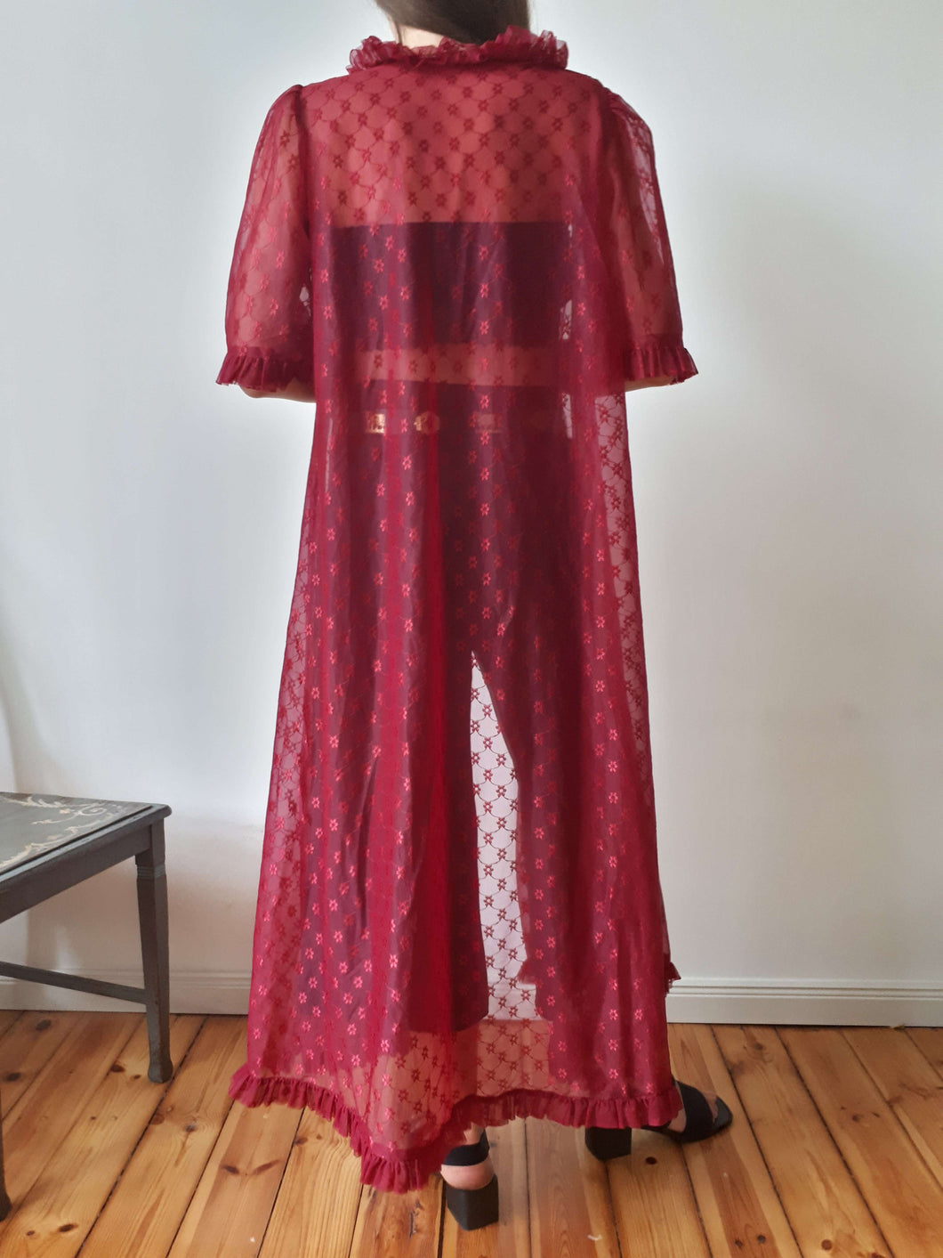 SHEER ORGANZA ROBE | RUFFLE | S/M/L:[Past out]:[vintage clothes]