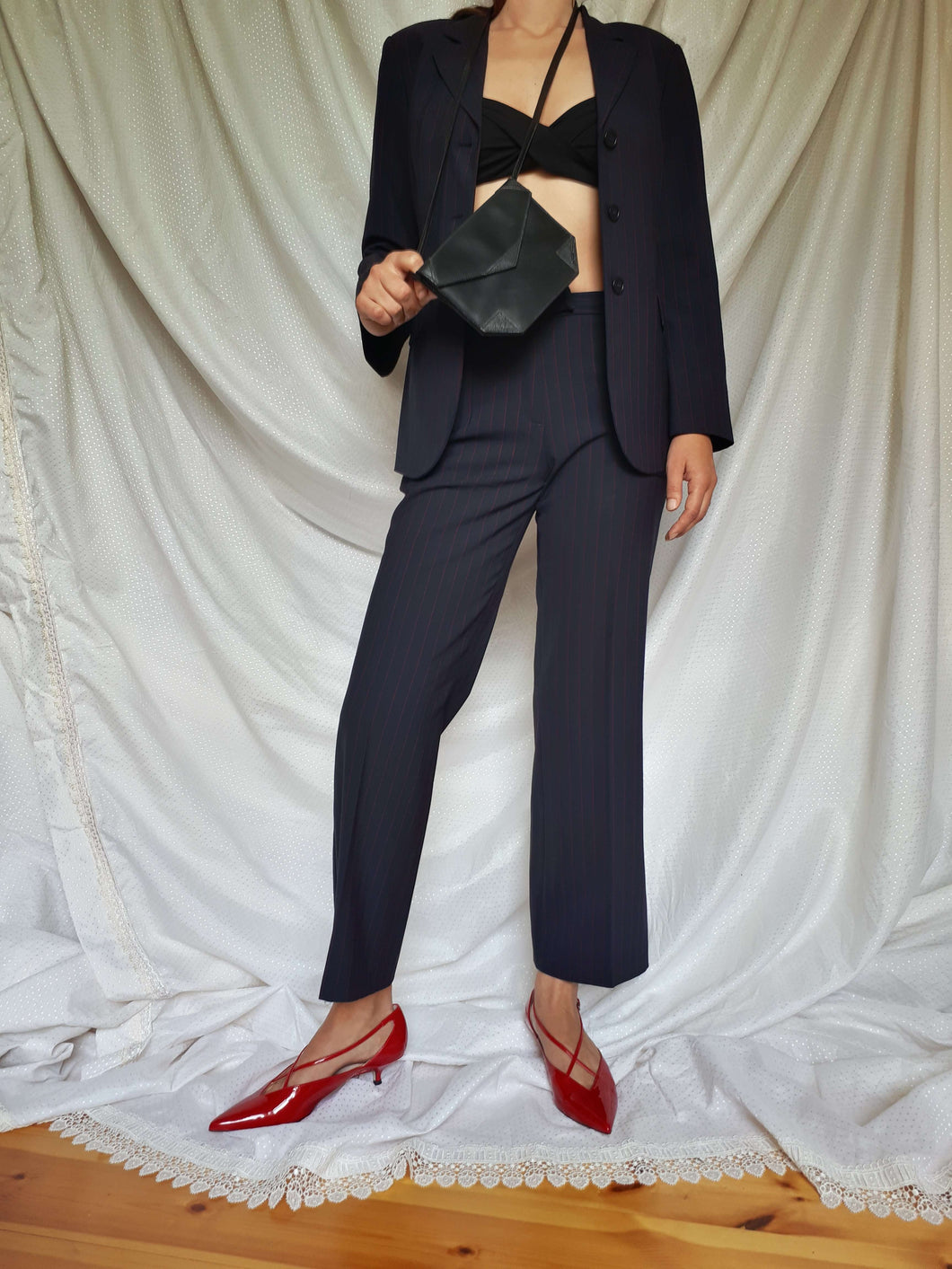 3 PIECE SISLEY SUIT | pinstripe | blazer-skirt-pants | XS/S:[Past out]:[vintage clothes]