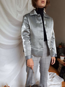 THIN QUILTED JACKET | silver | S:[Past out]:[vintage clothes]
