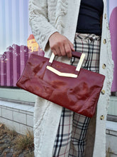VINTAGE LEATHER HANDBAG:[Past out]:[vintage clothes]