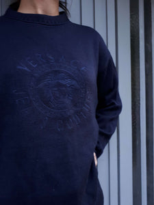 VERSACE SWEATER | medusa big logo | M/L:[Past out]:[vintage clothes]