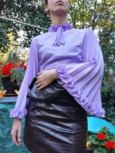 70s BELL SLEEVE BLOUSE | pleated wide sleeve| M:[Past out]:[vintage clothes]