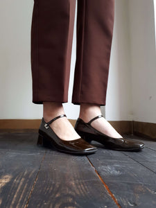 2000s PRADA PATENT LEATHER SHOES | kitten heel | 38.5:[Past out]:[vintage clothes]