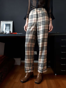 BURBERRY NOVA CHECK PANTS | plaid | wool | monogram | S:[Past out]:[vintage clothes]