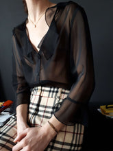 TRANSPARENT BLACK BLOUSE | sheer | S:[Past out]:[vintage clothes]