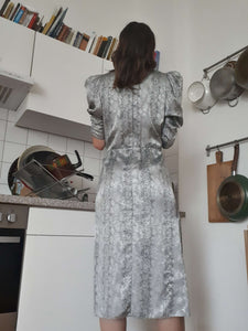 80s SILVER DRESS | snake print | S/M:[Past out]:[vintage clothes]