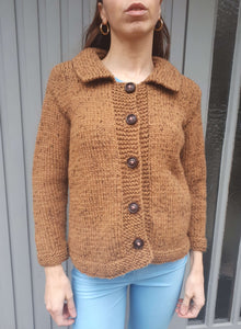 70s HAND KNIT CARDIGAN | wool | S:[Past out]:[vintage clothes]