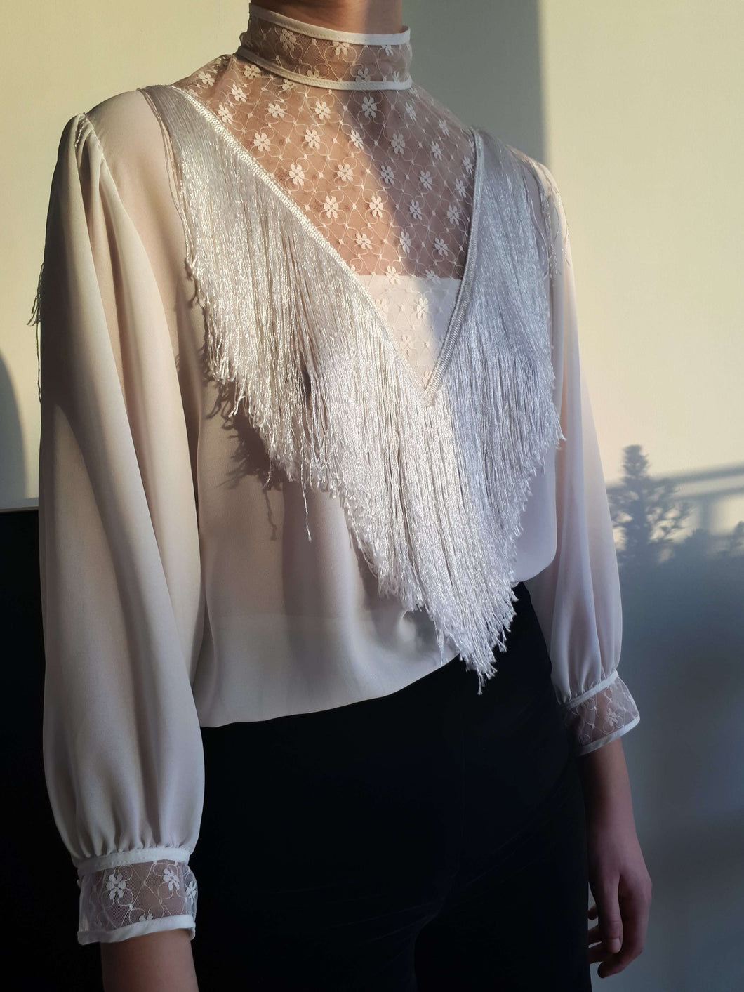 80s COWBOY BLOUSE | fringes | S/M:[Past out]:[vintage clothes]