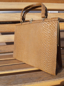 40s - 50s PURSE | faux snakeskin handbag:[Past out]:[vintage clothes]