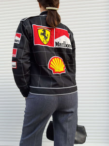 00's RACING F1 PADED BOMBER JACKET | Ferrari | Marlboro | S/M:[Past out]:[vintage clothes]