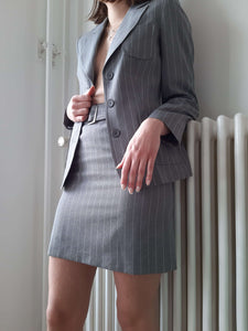 Y2K SKIRT SUIT | pinstripe suit | S:[Past out]:[vintage clothes]