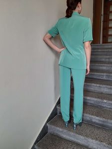 90s PANT SUIT | short sleeves | S/M:[Past out]:[vintage clothes]