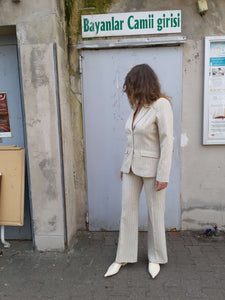90s PINSTRIPE SUIT | beige | M:[Past out]:[vintage clothes]