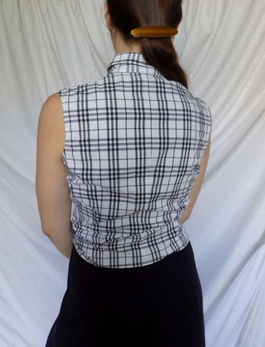 Burberry Sleeveless Shirt | Nova Check Black and White | M:[Past out]:[vintage clothes]