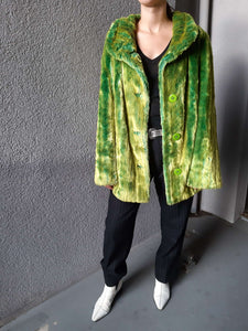 Fake Fur in Neon Green | M/L:[Past out]:[vintage clothes]