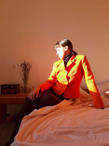 VERSACE Blazer | Medusa Buttons | Neon Orange | M:[Past out]:[vintage clothes]