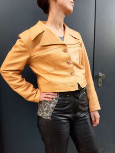 70s Leather Cropped Jacket | Big Collar | M/L:[Past out]:[vintage clothes]