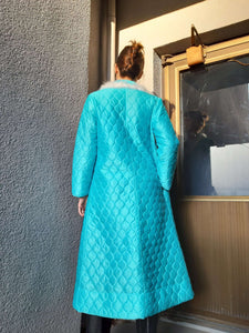60s Paded Robe with Feathers | Neon Blue | Kimono | M:[Past out]:[vintage clothes]