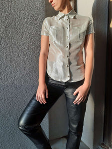 VERSACE Silver Shiny Blouse | Transparent | Medusa Buttons | S/M:[Past out]:[vintage clothes]