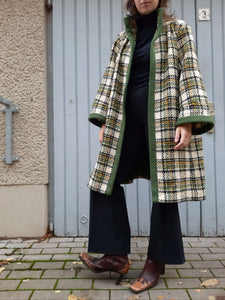 60s Plaid Cape Coat | A Line | M/L:[Past out]:[vintage clothes]