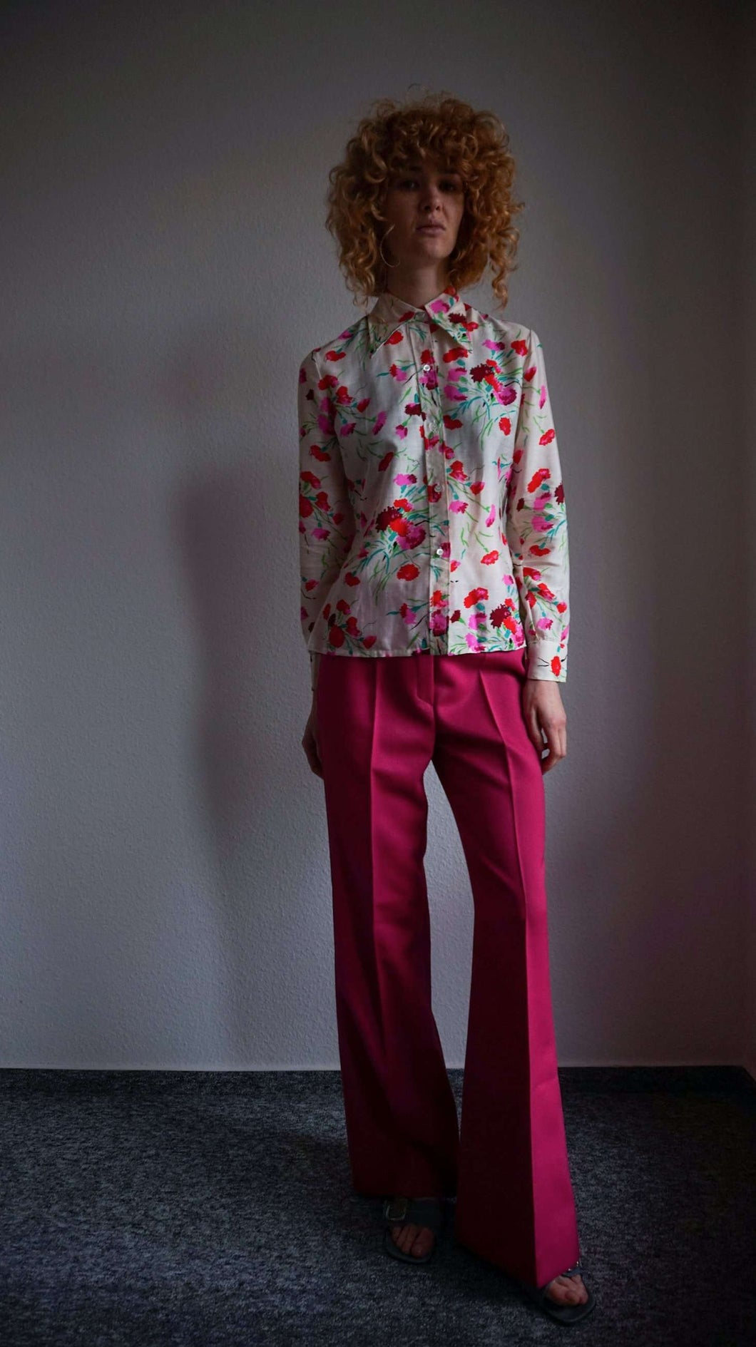 70s Wool Blend Flares | magenta pink | S:[Past out]:[vintage clothes]
