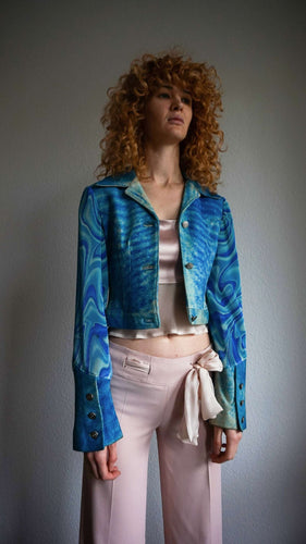 70s Cropped Leather Jacket | trippy psychedelic pattern | XS/S:[Past out]:[vintage clothes]