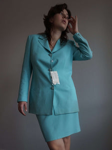 90s Versace V2 Skirt Suit | vintage deadstock | M and L:[Past out]:[vintage clothes]