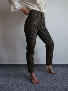 90s FENDI High Waisted Zucca Pants | monogram | S/M:[Past out]:[vintage clothes]