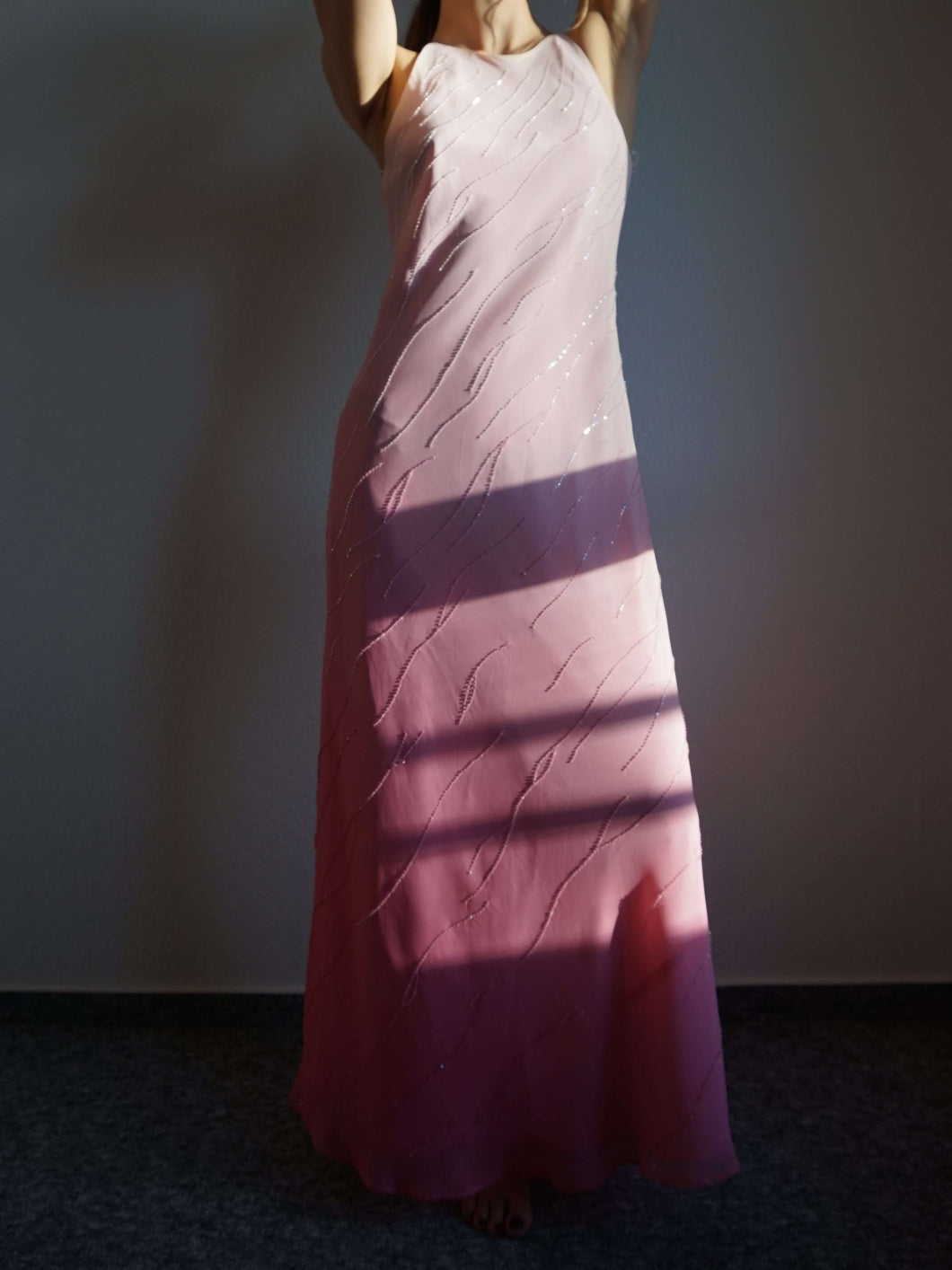 Y2k Sparkly Gradient Color Slip Dress | pink | beaded | S:[Past out]:[vintage clothes]