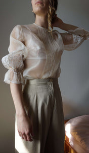 70s Transparent Embroidered Blouse | puff sleaves | organza | S/M:[Past out]:[vintage clothes]
