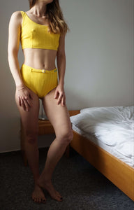 90s Skinny Deadstock Two Piece Swimsuit | high waisted bikini | M:[Past out]:[vintage clothes]