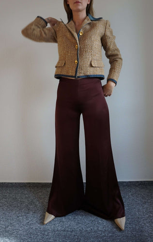 Y2k Satin Extreme Wide Leg Pants | Palazzo Pants | Flares | S/M:[Past out]:[vintage clothes]