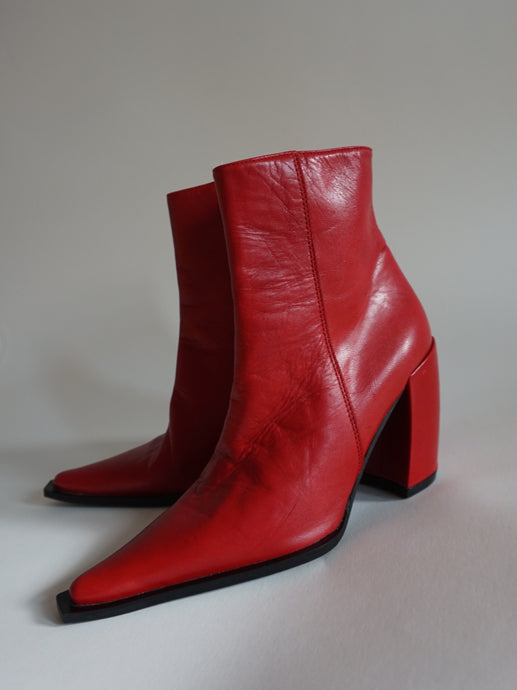 Red Pointed Toe Ankle Boots | Santiago Boots | Cowboy Ankle Boots | 37