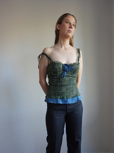 Y2k D&G Boned Corset Top | Bustier | Denim Top | Tweed and Jeans | S