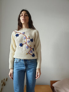 Vintage Floral Embroidered Sweater | S/M