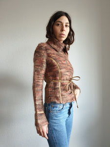 70s Mohair Wool and Faux Leather Jacket - S