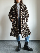 70s Giraffe Faux Fur Coat | M