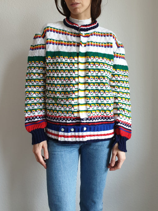 60s Handknit Colorful Cardigan | Folk | Cable Knit | M