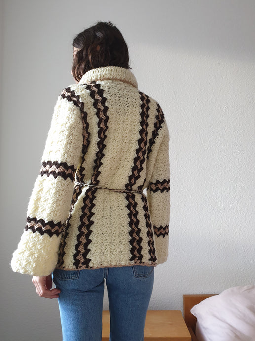 60s Handknit Cardigan | Belted | Cable Knit| S