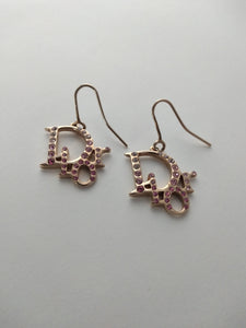 Y2k Dior Logo Earrings | Monogram | Pink