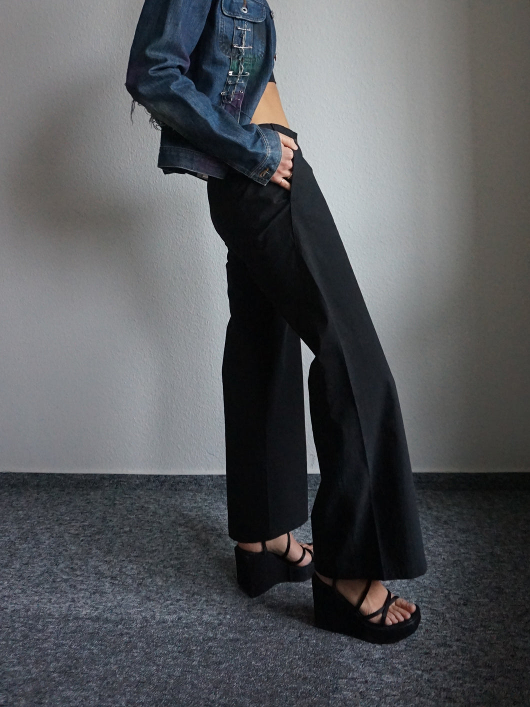 Y2k Deadstock Low Waist Wide Leg Pants - M