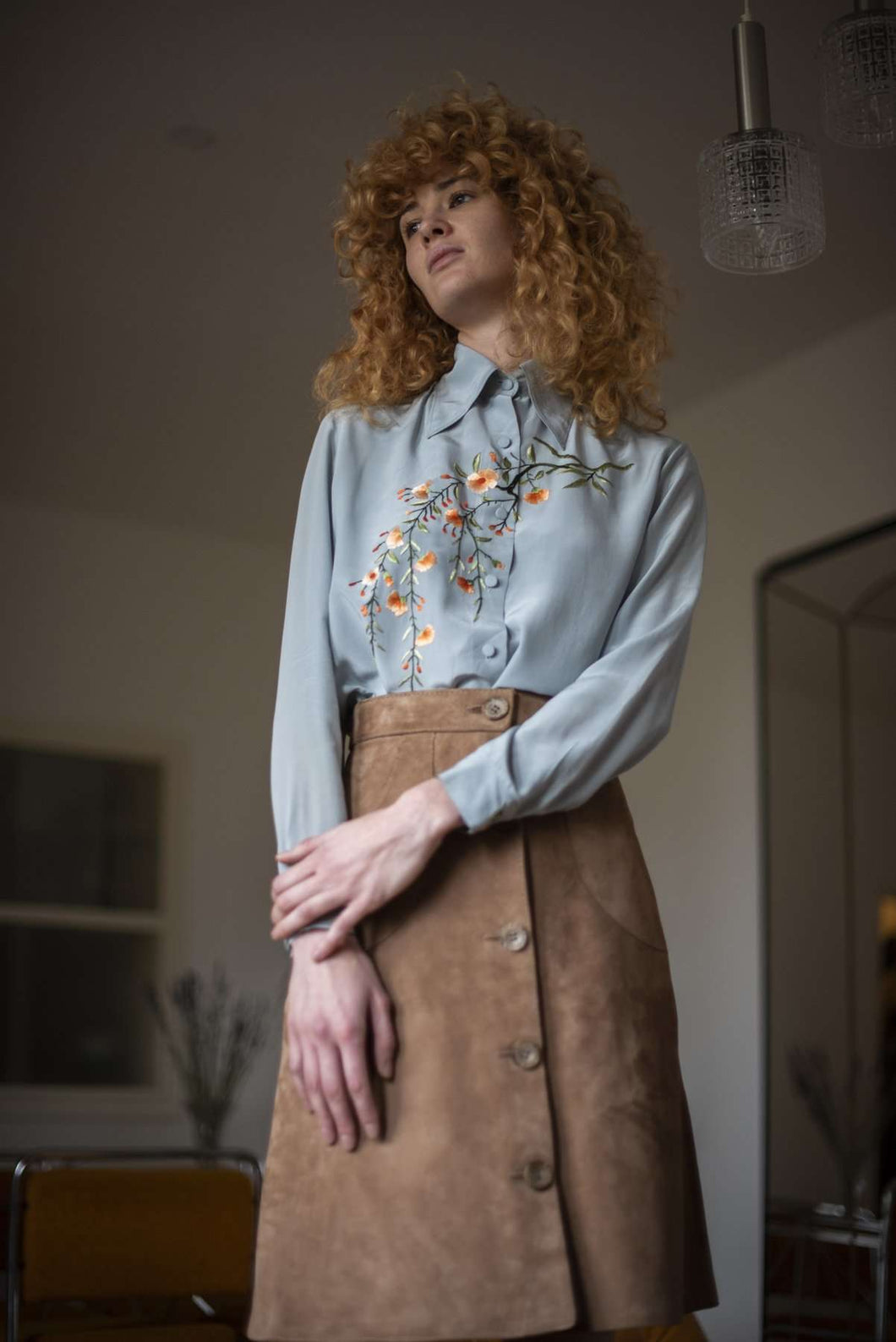Silk Blouse | Chinese Style Floral Embroidery | S/M:[Past out]:[vintage clothes]