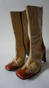 90s Patent Boots | Square Toe | High Heels | 37