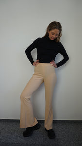 Back Slit Suit Pants with Rivets | High Waisted | Flared | Silk blend | S