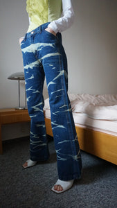 90s Deadstock Acid Flares | Tie Dye Jeans | High Waisted Flared Pants | S