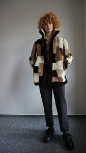 70s Shearling Teddy Fur Coat | Patchwork | Shaggy | S/M