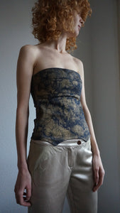 Y2k Denim Corset Top | Gold Tie dye Bustier | XS