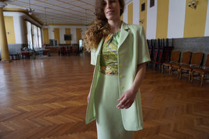90s Pistachio Skirt Suit | Short Sleeve | S/M:[Past out]:[vintage clothes]