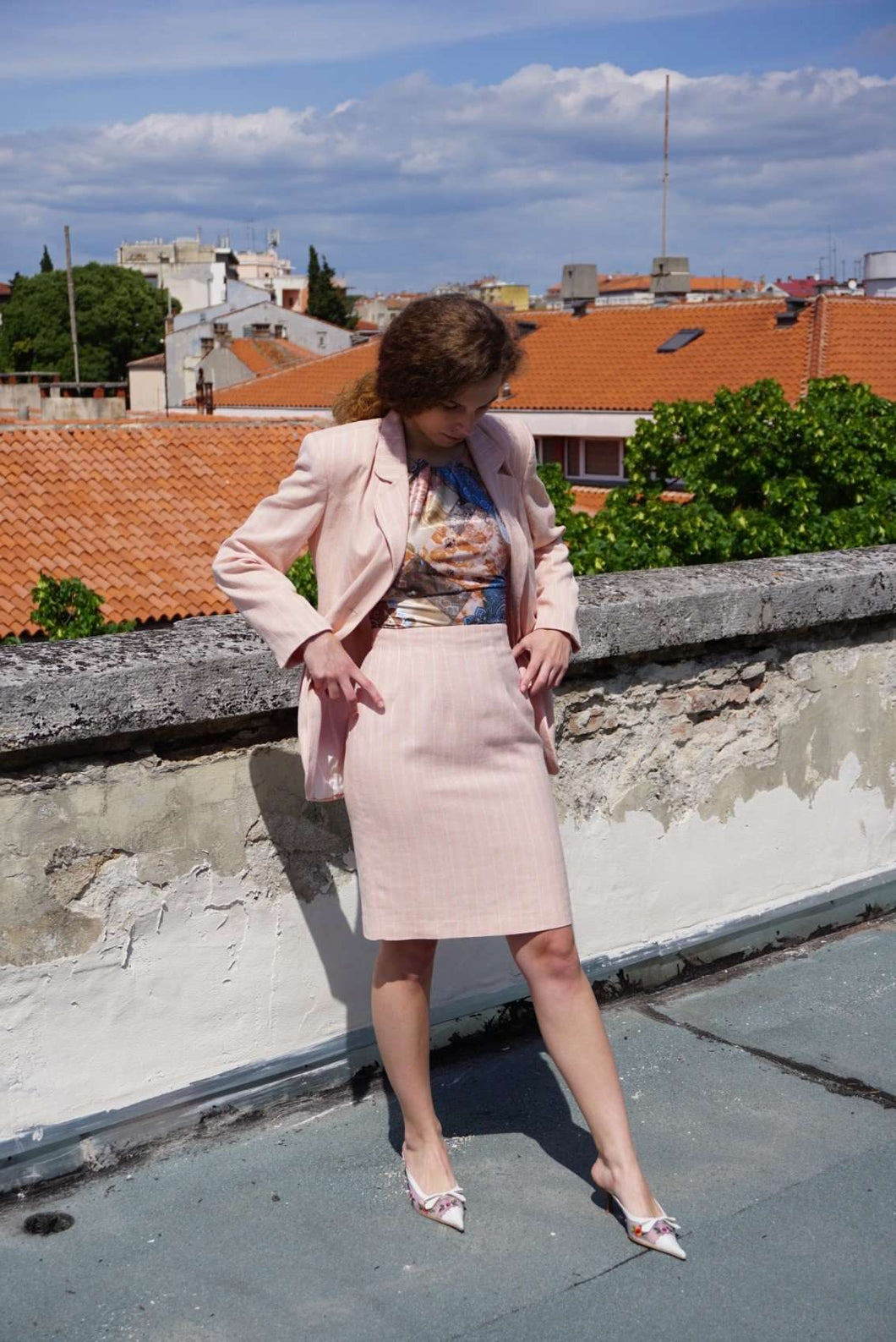 Pink Pinstripe Skirt Suit | S/M:[Past out]:[vintage clothes]